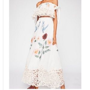 Free People Linen printed crop top and skirt set